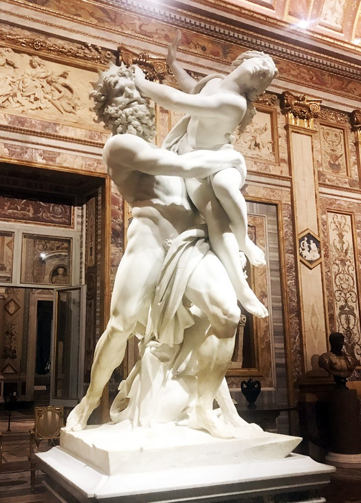 the rape of Proserpine by Bernini at the Borghese Gallery